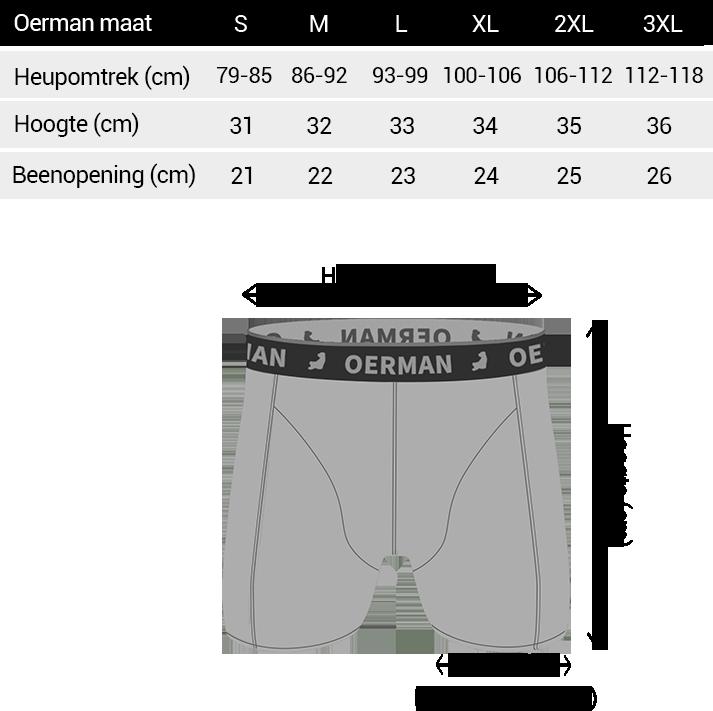 Matentabel Oerman boxershorts
